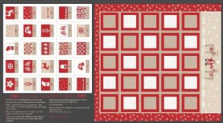 Lewis & Irene When I Met Santa's Reindeer - 4778 -  Scandi Style Advent Calendar Panel on Beige - C8.2 - Cotton Fabric